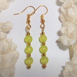 Lime Green & Gold Earrings Beaded Dangle NWT 6347